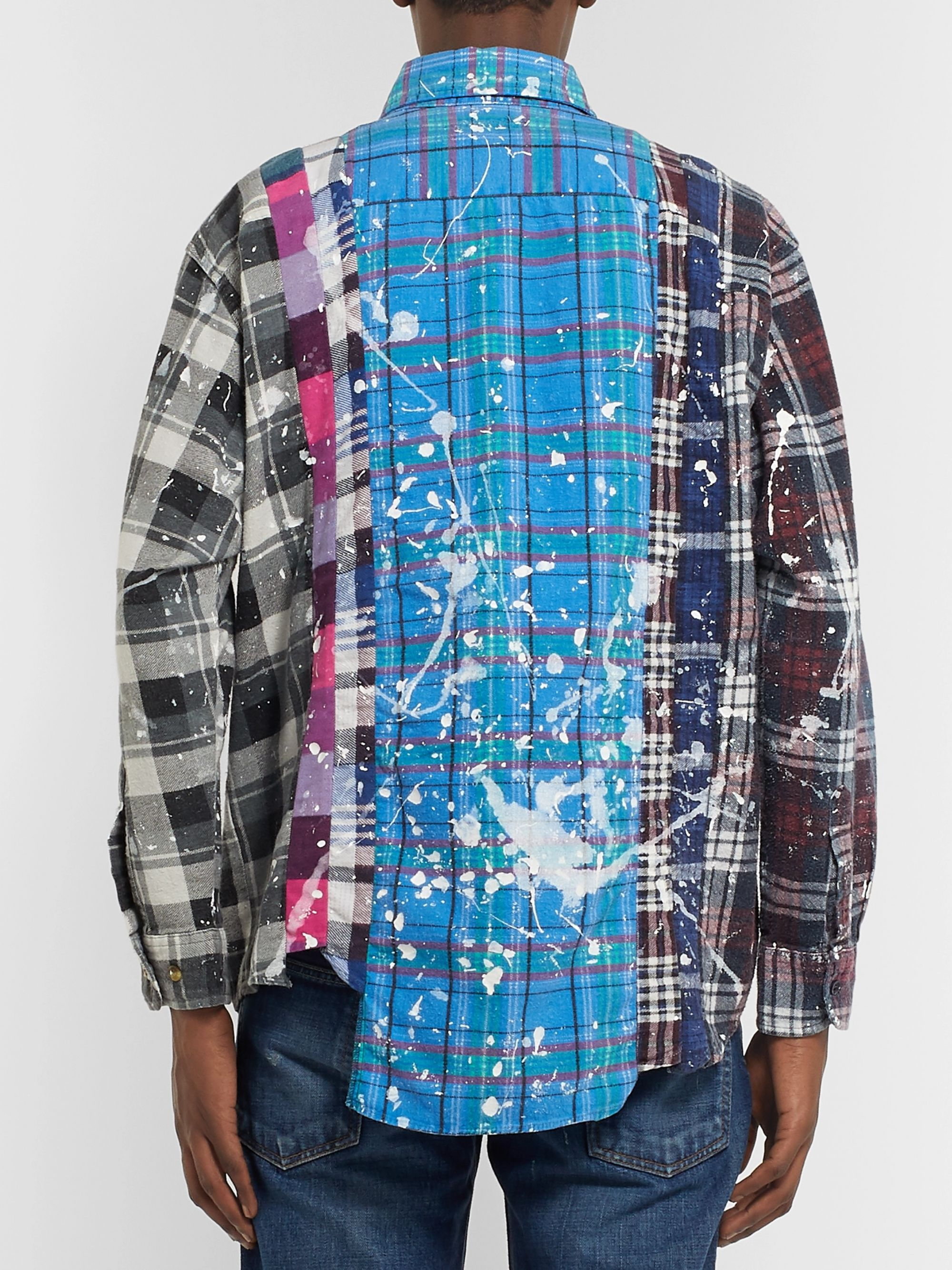 Needles Paint-Splattered Checked Cotton-Flannel Shirt