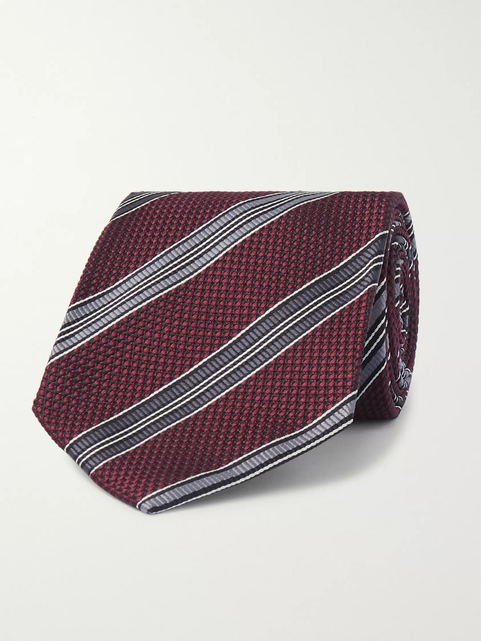 TOM FORD 8cm Striped Woven Silk Tie