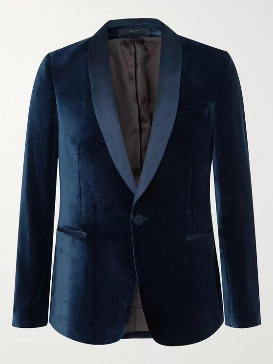 Paul Smith Midnight-Blue Satin-Trimmed Velvet Tuxedo Jacket