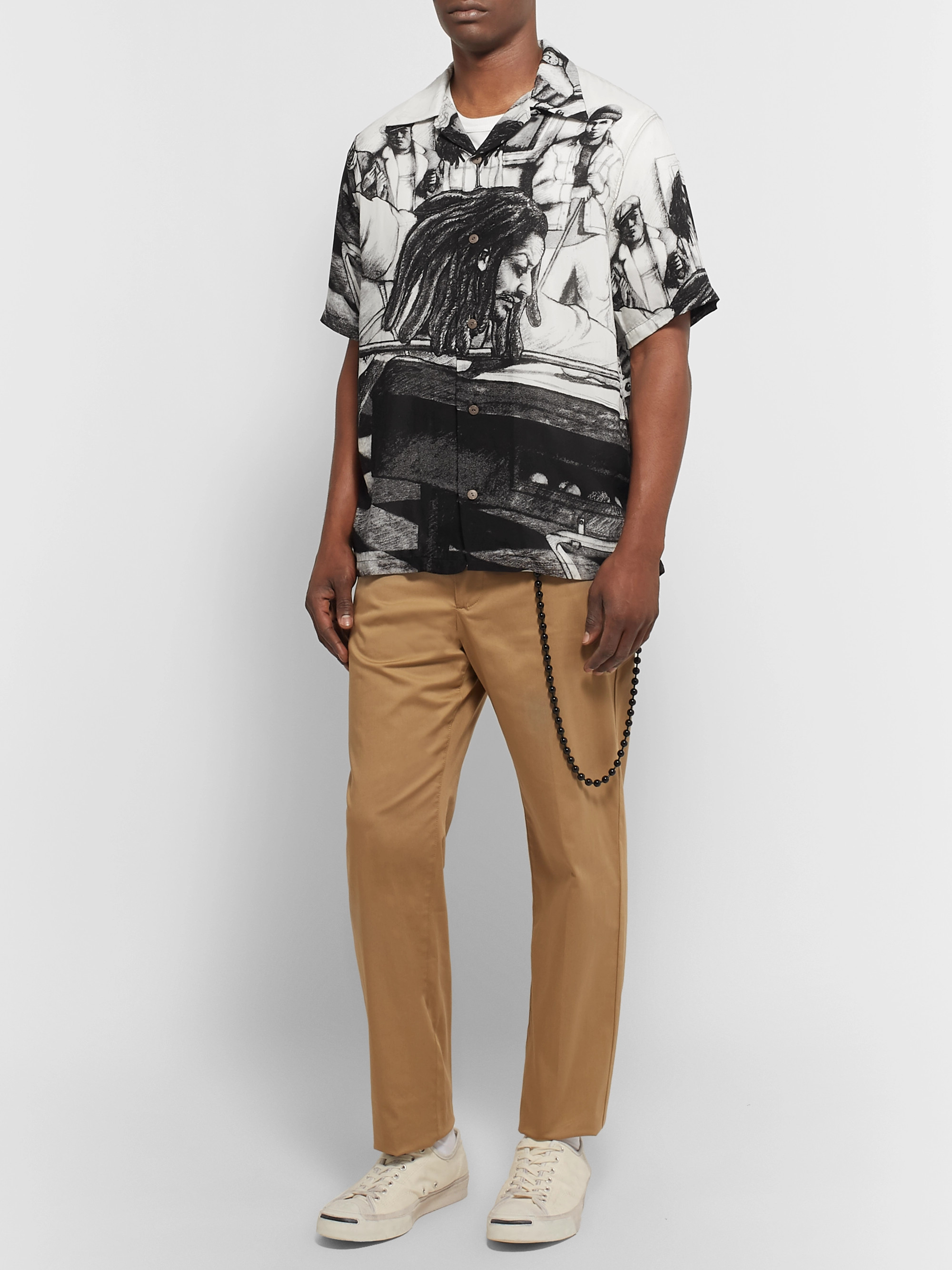 KAPITAL + Bob Marley Camp-Collar Printed Woven Shirt
