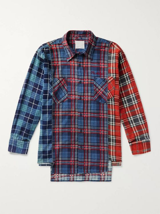 TAKAHIROMIYASHITA TheSoloist. Patchwork Checked Cotton-Flannel Shirt