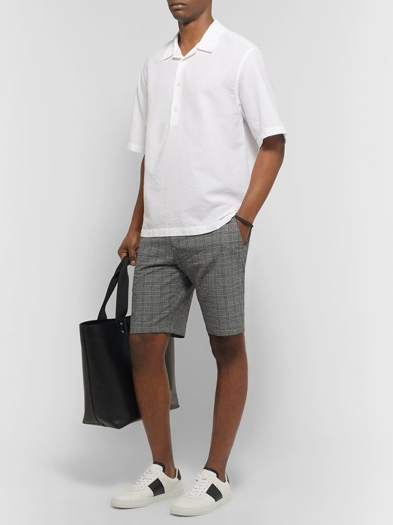 Paul Smith Prince of Wales Checked Stretch-Cotton Seersucker Shorts