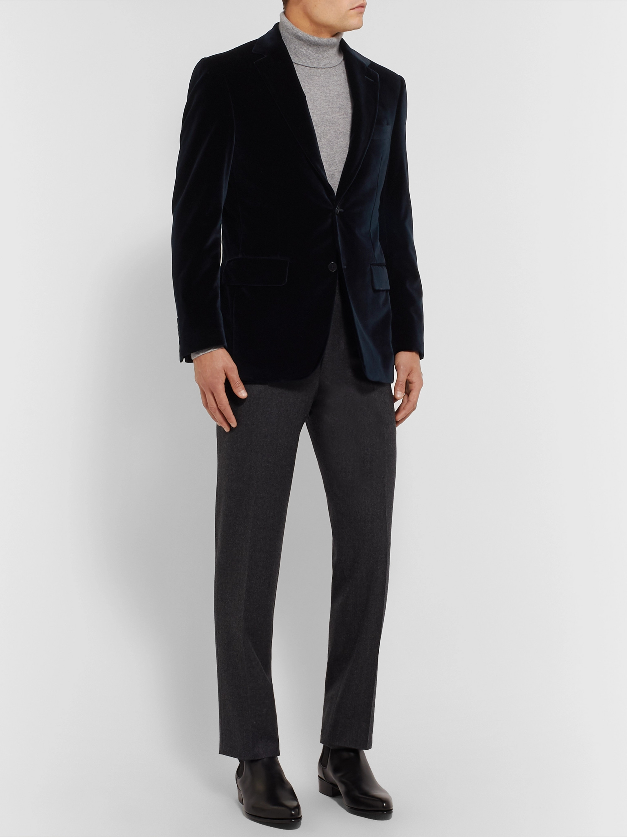 Canali Burgundy Slim-Fit Cotton-Velvet Blazer