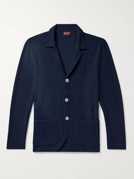 Isaia Slim-Fit Honeycomb-Knit Wool Cardigan