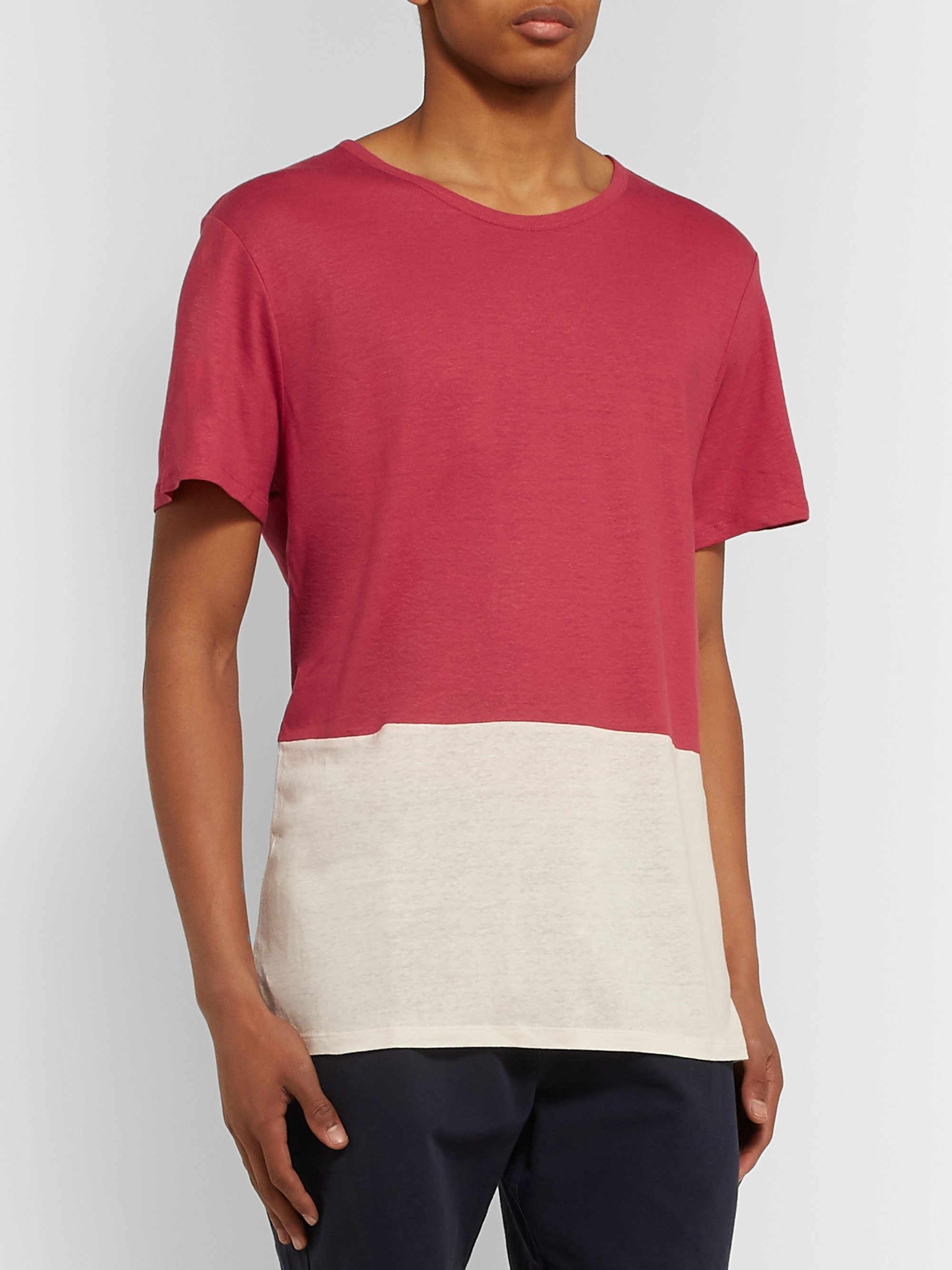 Onia Chad Colour-Block Linen and Modal-Blend Jersey T-Shirt