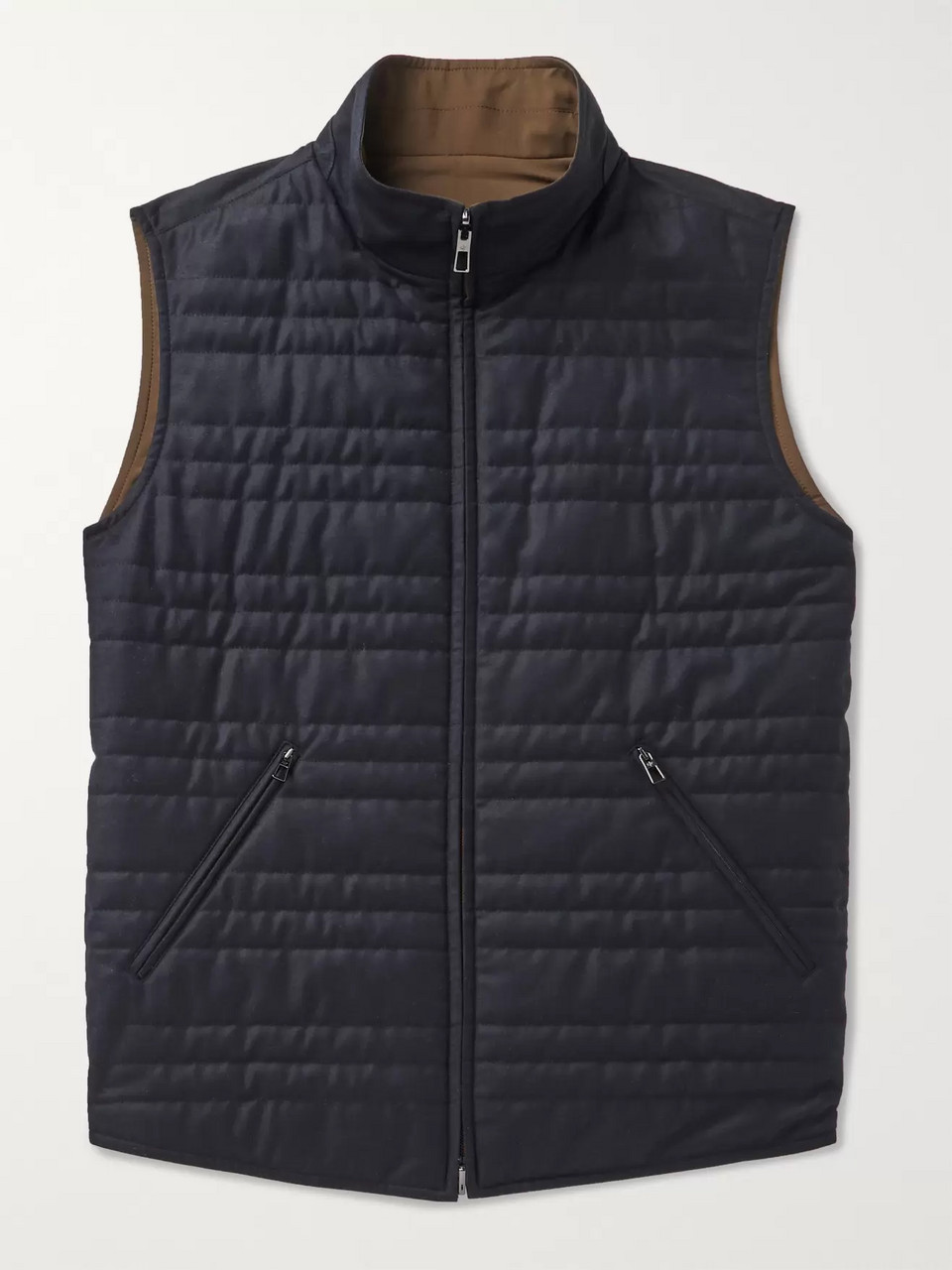 Loro Piana Marlin Reversible Quilted Rain System Microfibre and Virgin Wool-Blend Gilet
