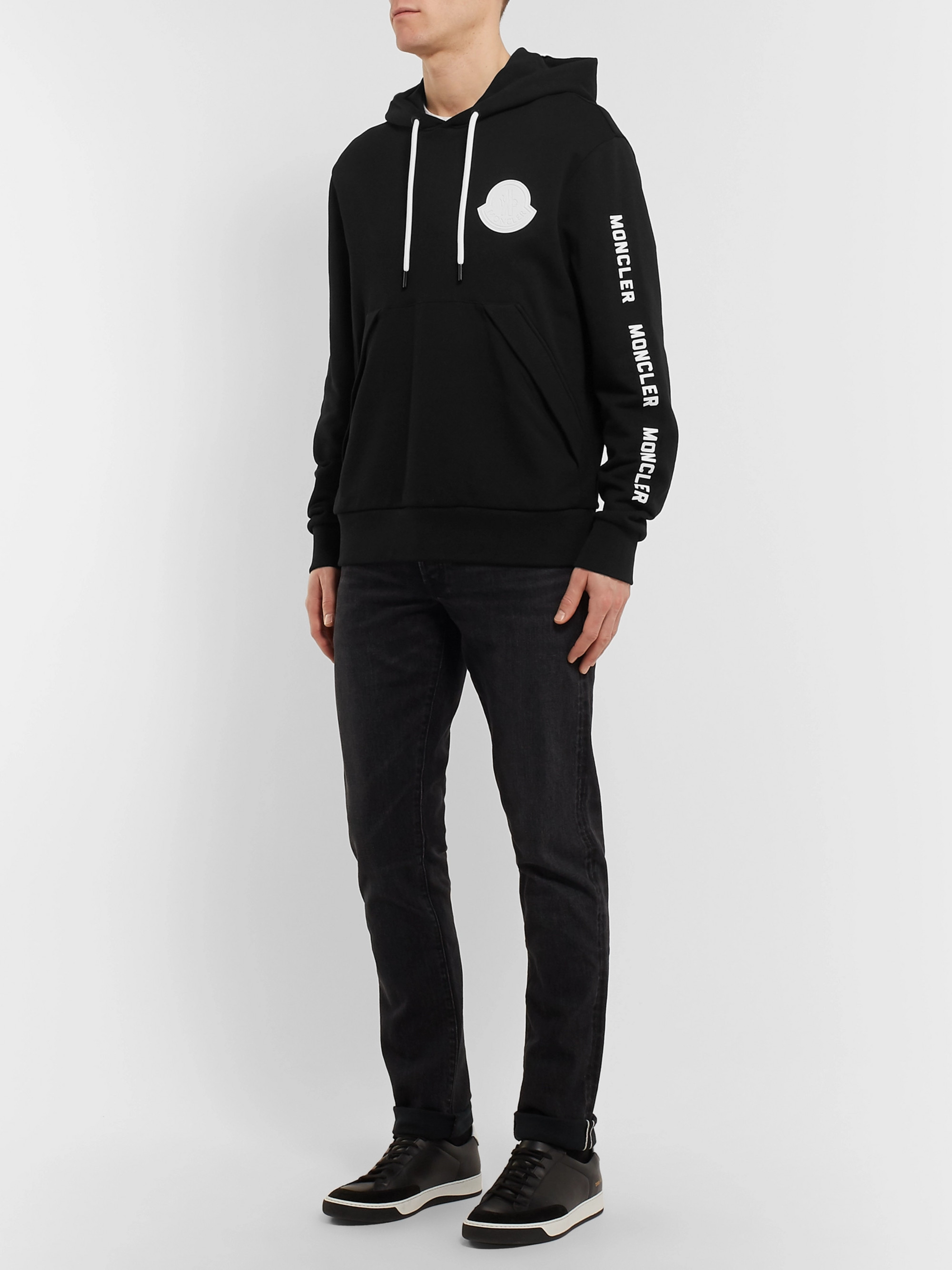 Moncler Maglia Logo-Appliquéd Printed Loopback Cotton-Jersey Hoodie