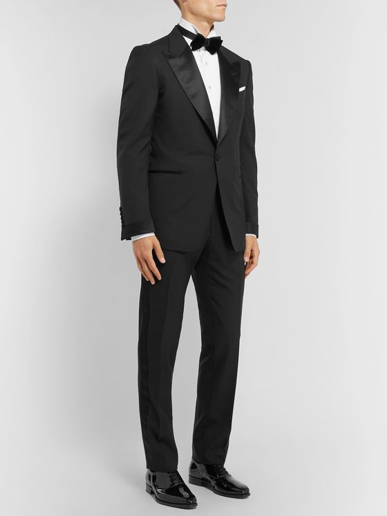 TOM FORD Black Shelton Slim-Fit Satin-Trimmed Wool Tuxedo Jacket