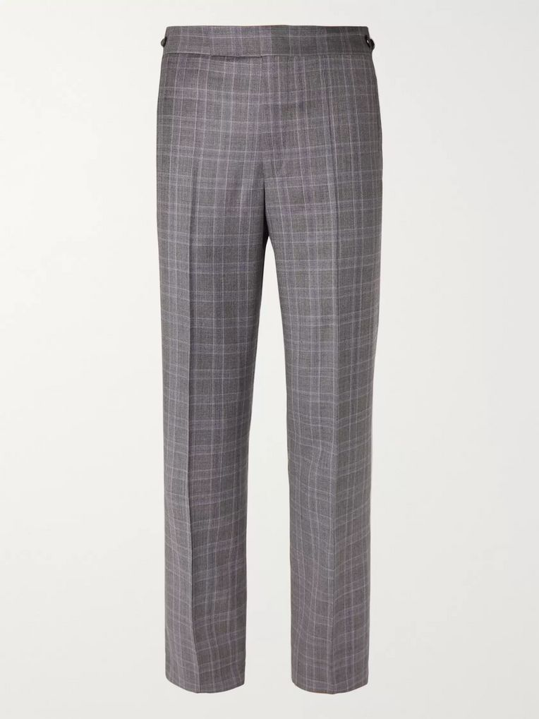 Gabriela Hearst Grey Martin Checked Wool Suit Trousers
