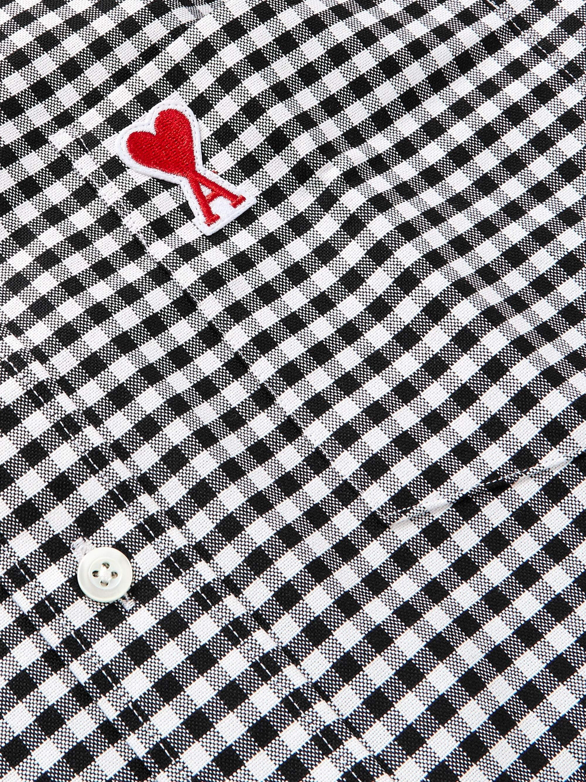 AMI Button-Down Collar Logo-Appliquéd Gingham Cotton Oxford Shirt