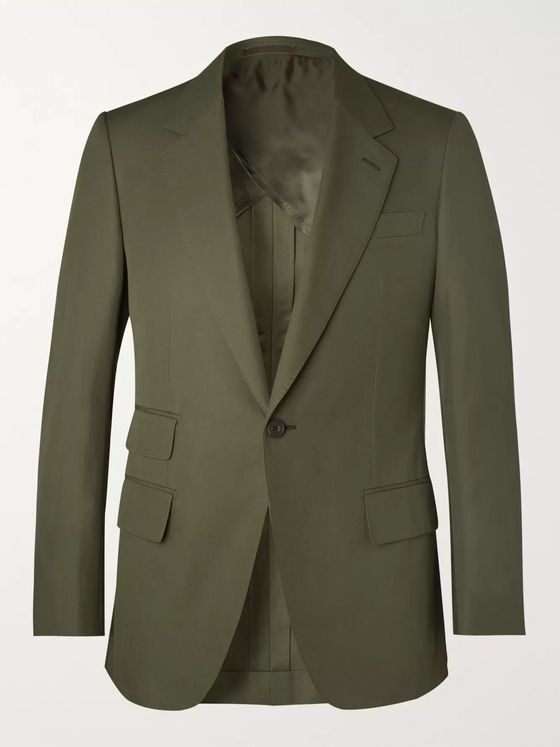 Kingsman Green Slim-Fit Cotton-Twill Suit Jacket