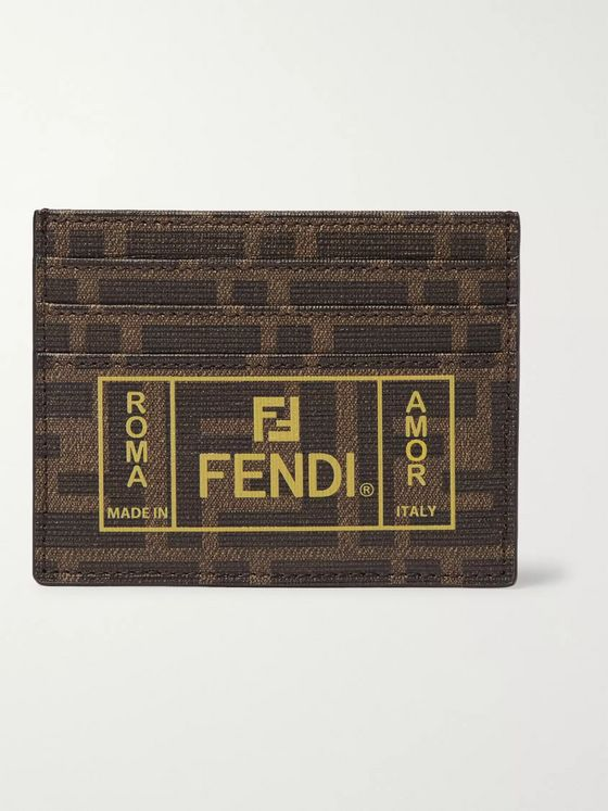 Fendi Logo-Print Cross-Grain Leather Cardholder