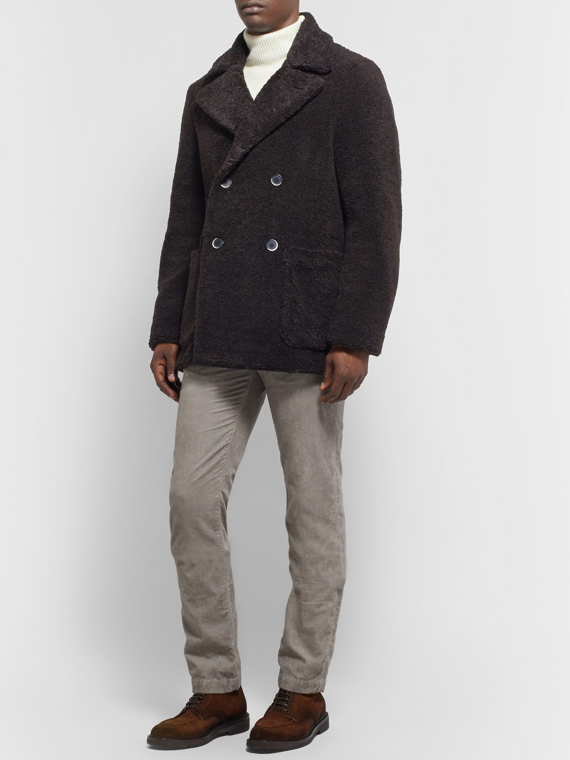 Barena Double-Breasted Faux Shearling Peacoat