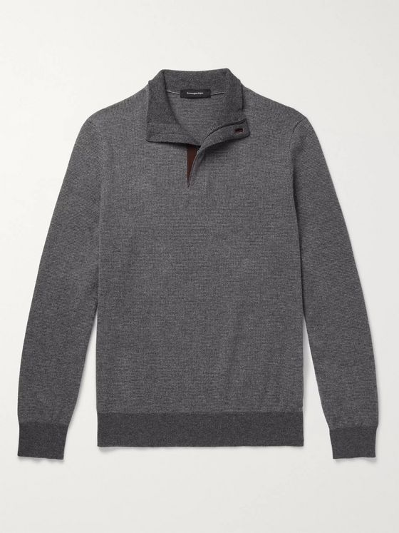 Ermenegildo Zegna Slim-Fit Leather-Trimmed Waffle-Knit Cashmere and Cotton-Blend Half-Zip Sweater