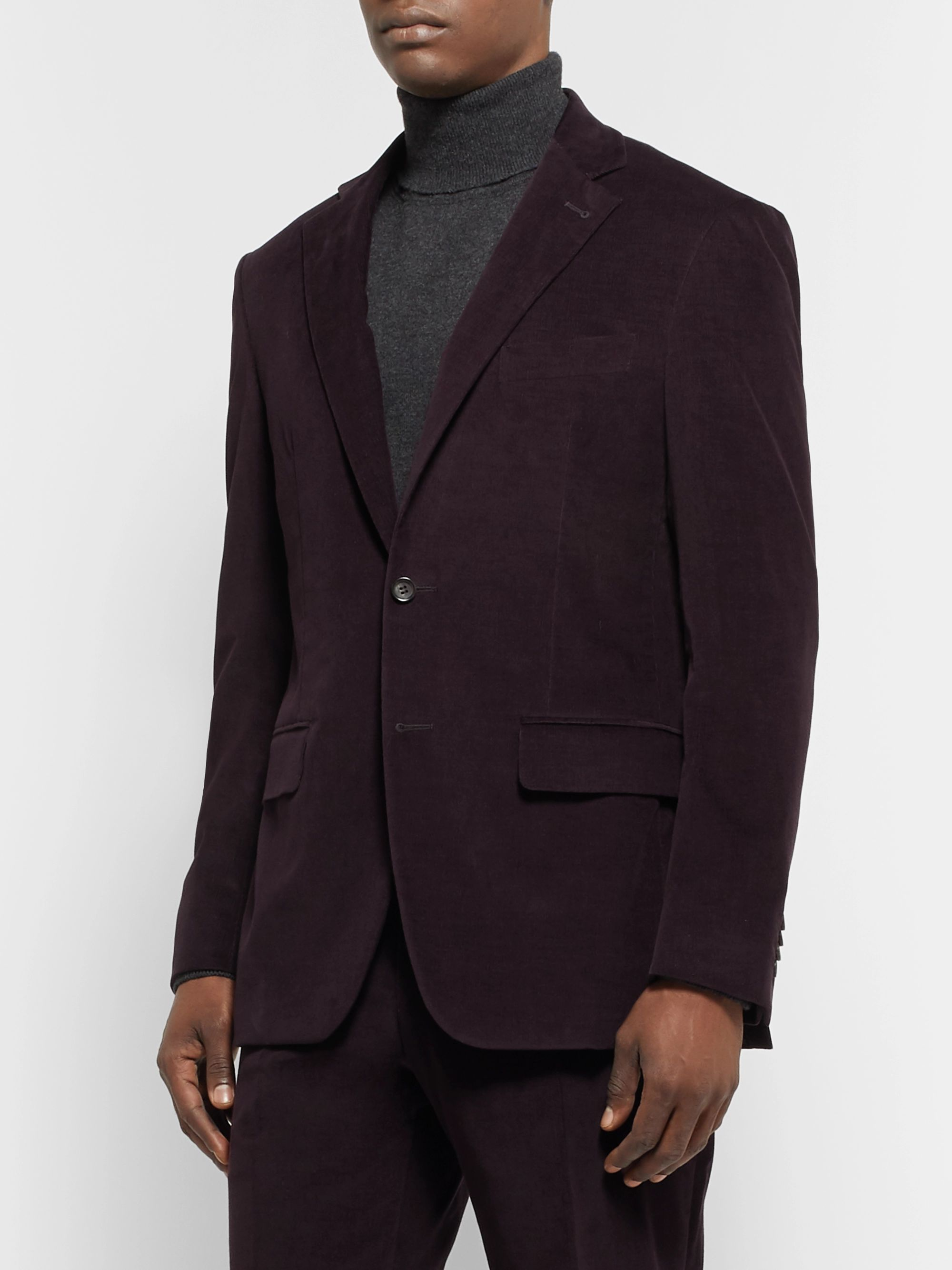 Canali Aubergine Kei Slim-Fit Cotton-Blend Corduroy Suit Jacket