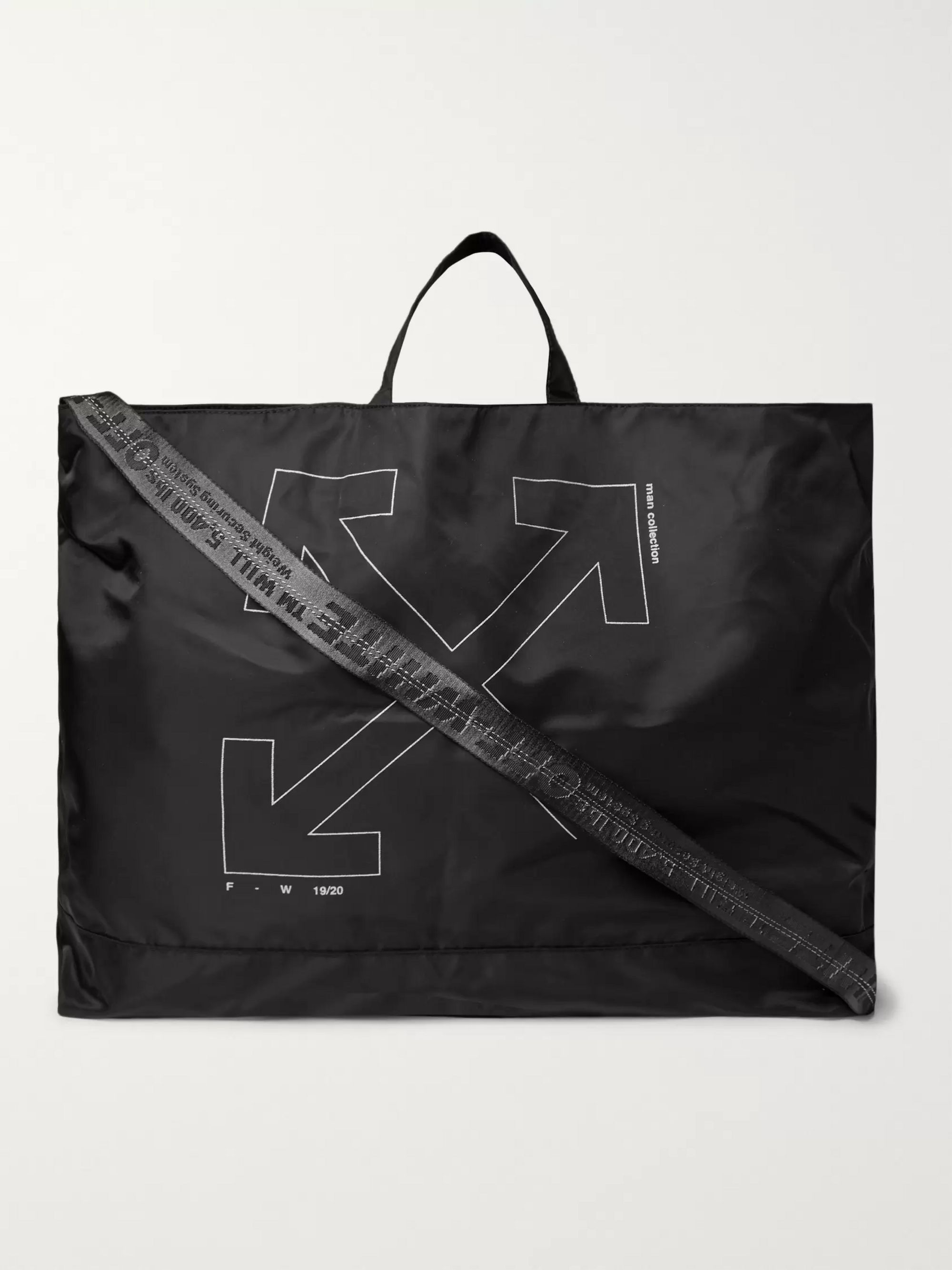 Unfinished Logo Print Shell Tote Bag by Off White