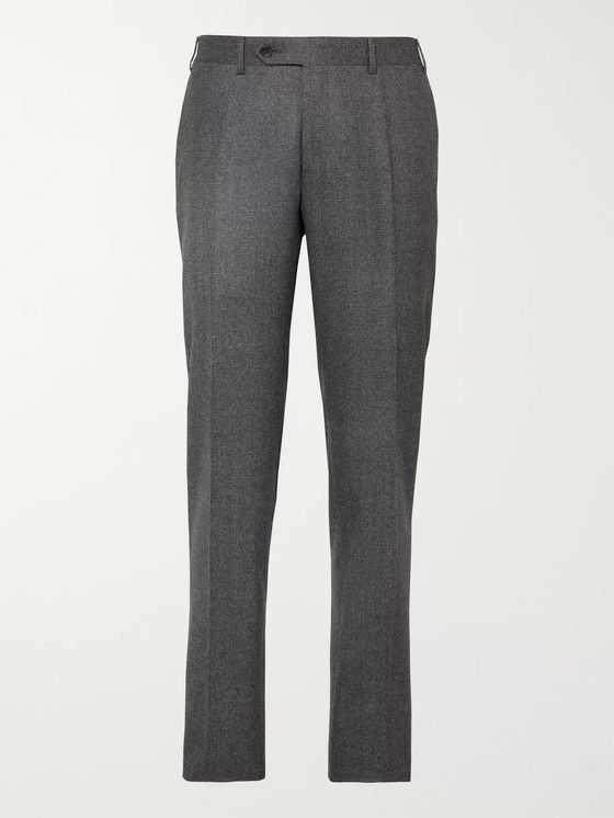 Canali Grey Puppytooth Super 120s Brushed-Wool Suit Trousers