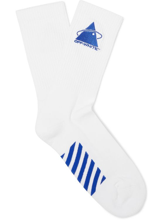 Off-White Embroidered Logo-Intarsia Stretch Cotton-Blend Socks