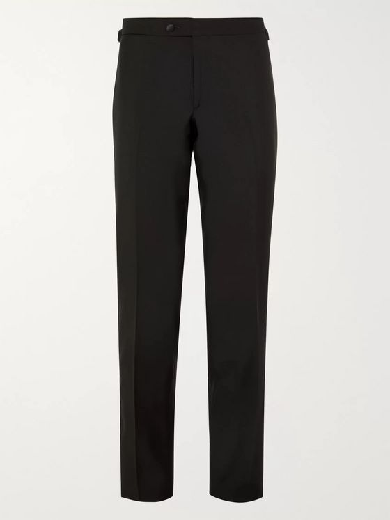 Thom Sweeney Black Slim-Fit Pleated Satin-Trimmed Wool Tuxedo Trousers