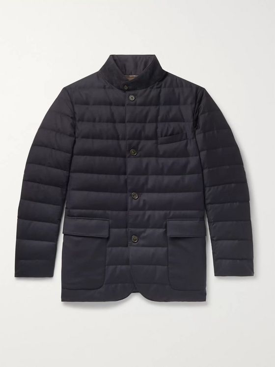 LORO PIANA Roadster Quilted Rain System Wool and Silk-Blend Down Jacket