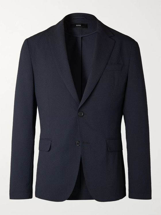 Hugo Boss Midnight-Blue Seersucker Suit Jacket