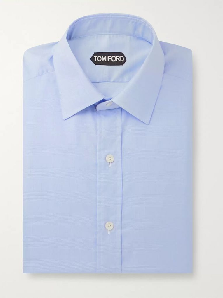 TOM FORD Blue Slim-Fit Prince Of Wales Checked Cotton Shirt