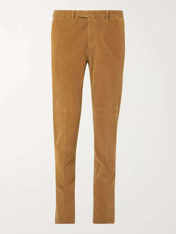 Boglioli Tan Slim-Fit Stretch-Cotton Corduroy Suit Trousers