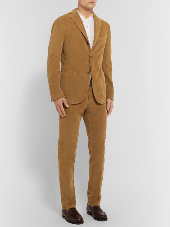 Boglioli Grey Slim-Fit Stretch-Cotton Corduroy Suit Trousers