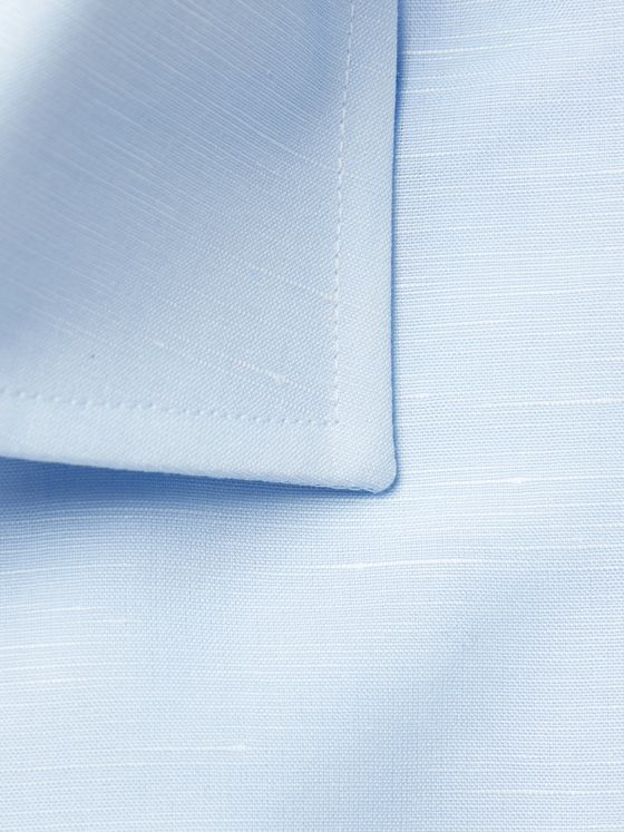 Canali White Cutaway-Collar Slub Cotton and Linen-Blend Shirt