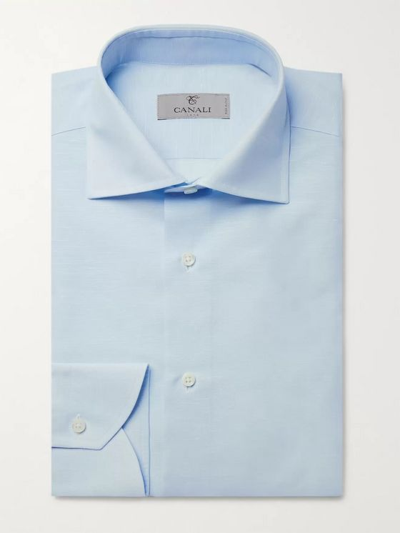Canali Light-Blue Cutaway-Collar Slub Cotton and Linen-Blend Shirt