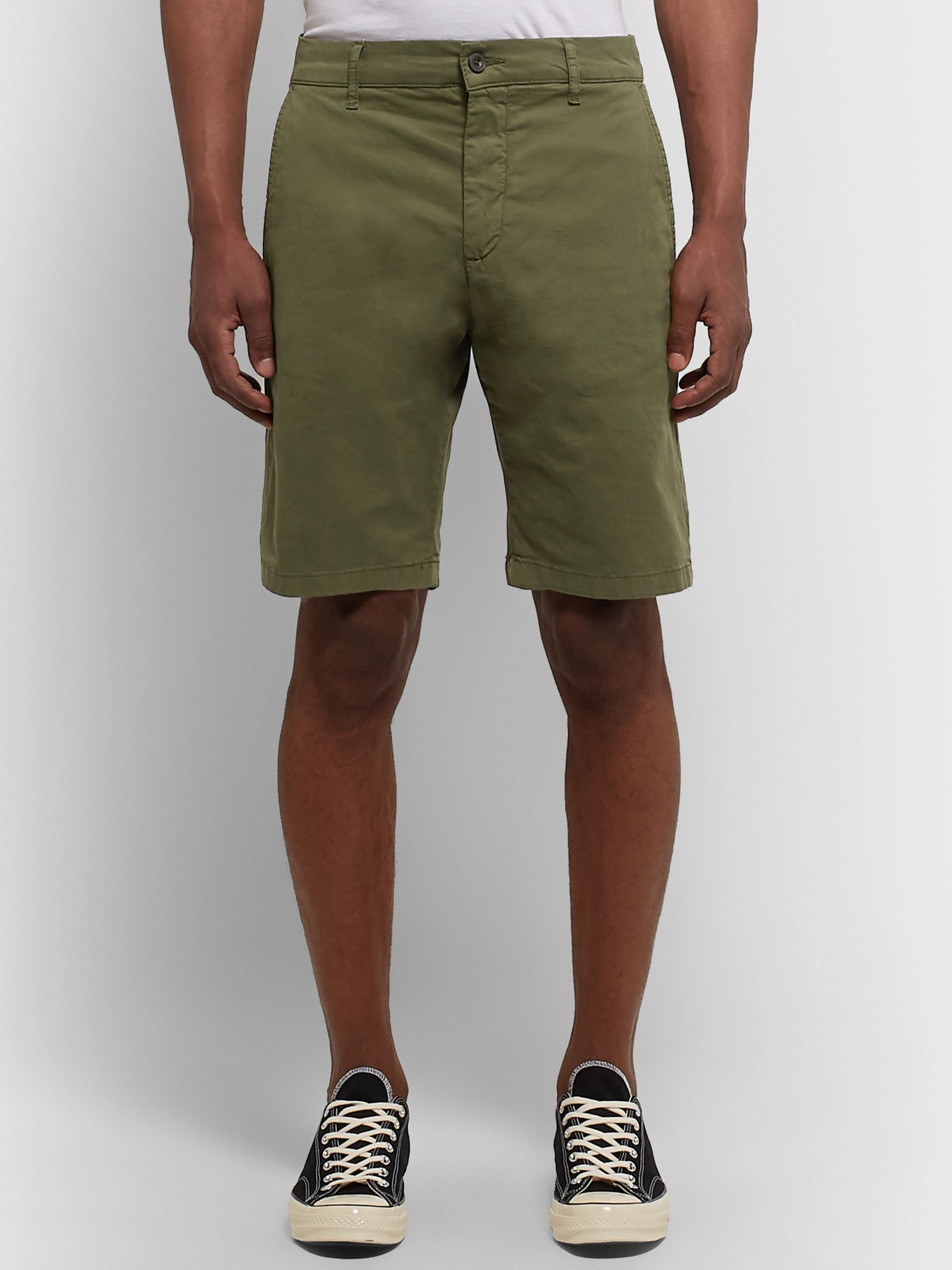 NN07 Crown Garment-Dyed Cotton-Blend Twill Shorts