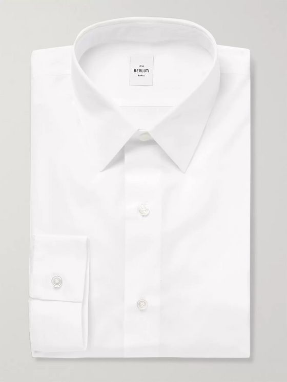Berluti White Slim-Fit Cotton-Poplin Shirt