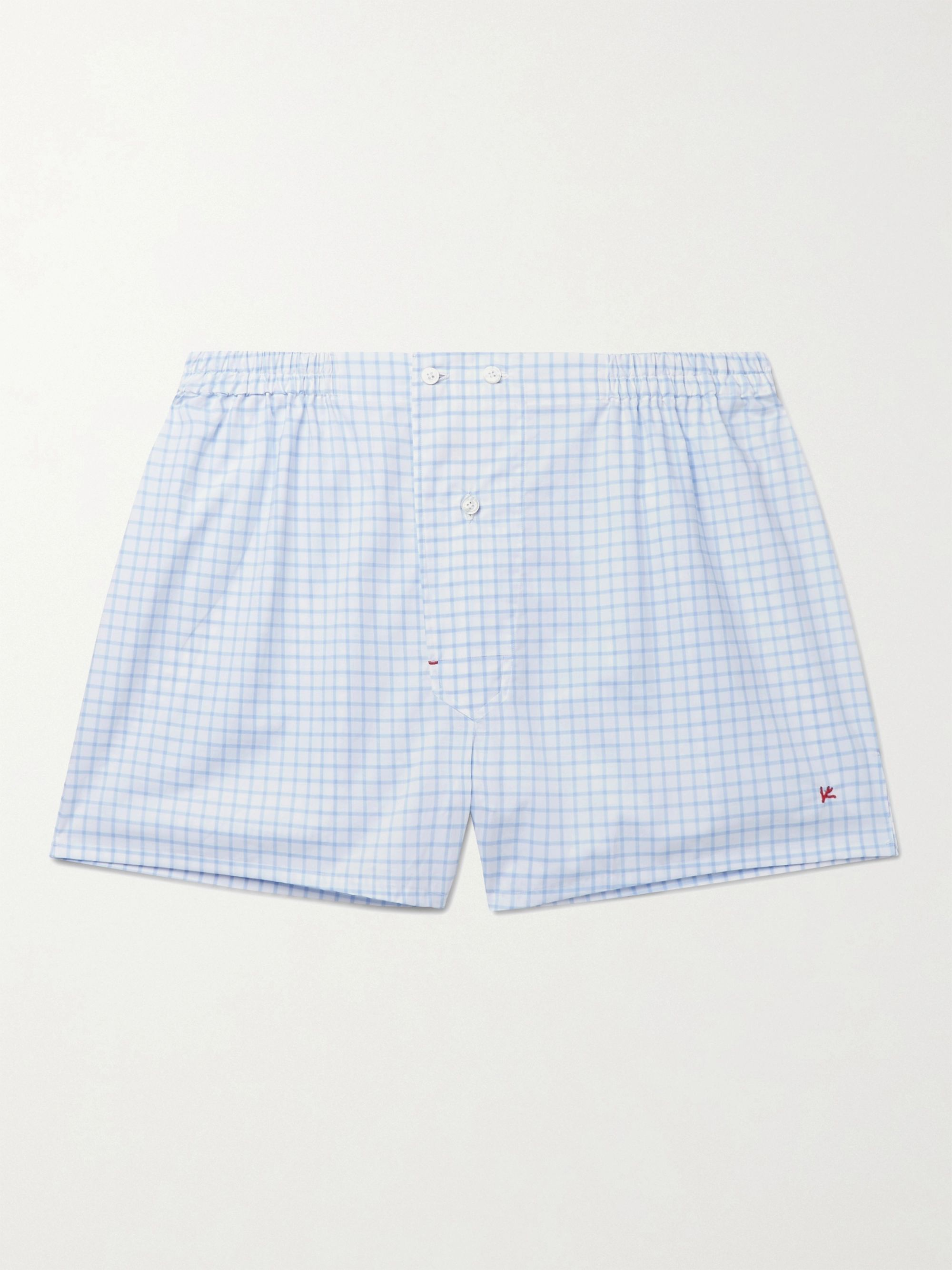 Isaia Windowpane-Checked Cotton Boxer Shorts
