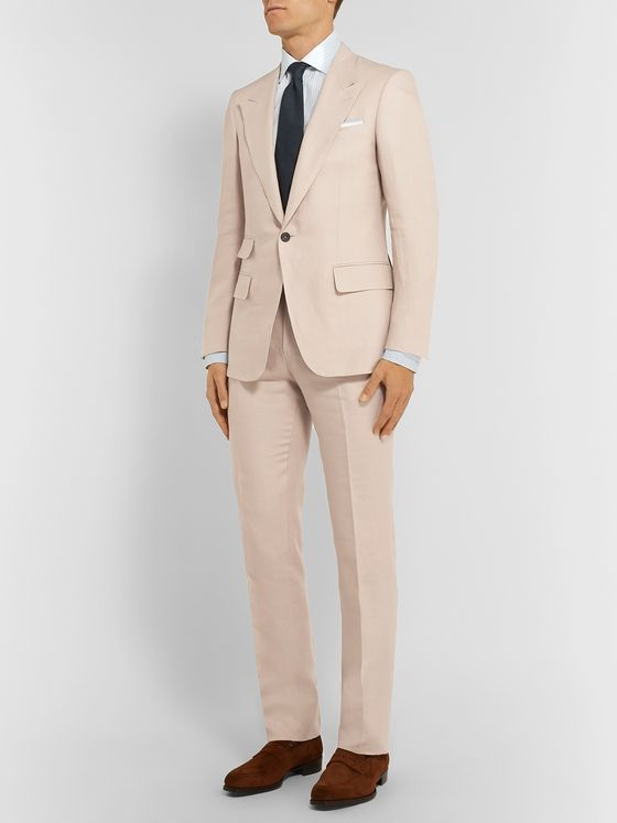 Kingsman Beige Slim-Fit Linen Suit Jacket