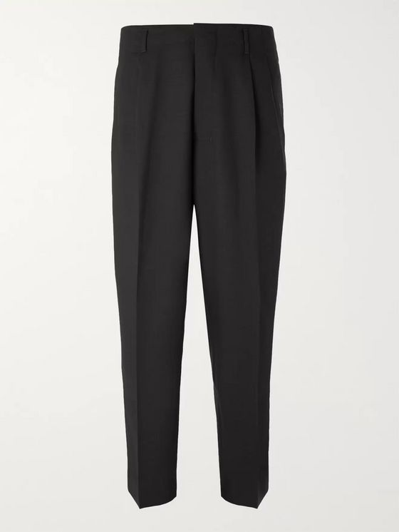 AMI Black Slim-Fit Pleated Virgin Wool-Twill Trousers