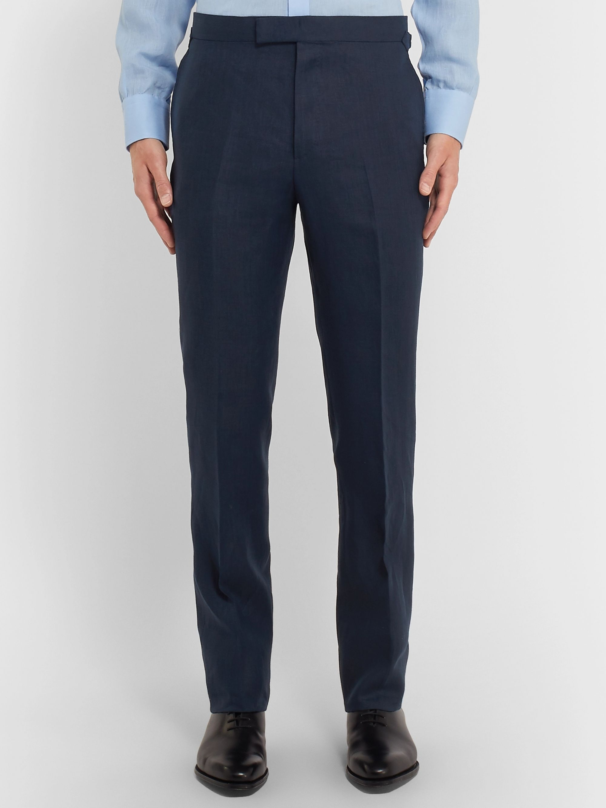 Kingsman Navy Slim-Fit Linen Suit Trousers
