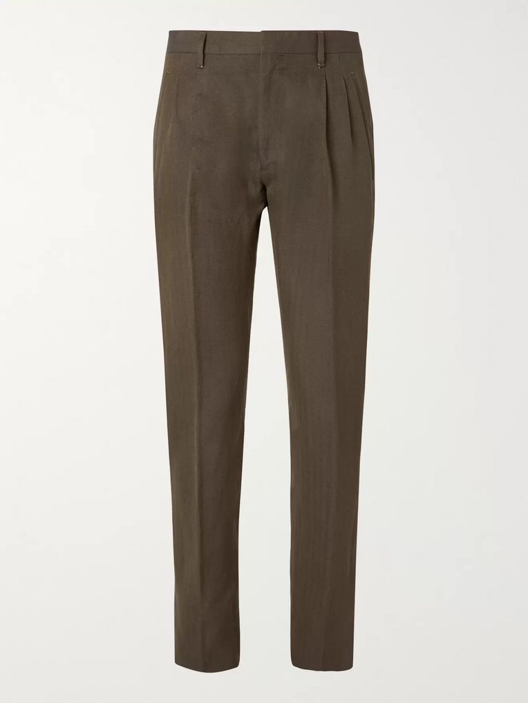 Zanella Newton Slim-Fit Pleated Herringbone Cotton and Linen Blend Trousers