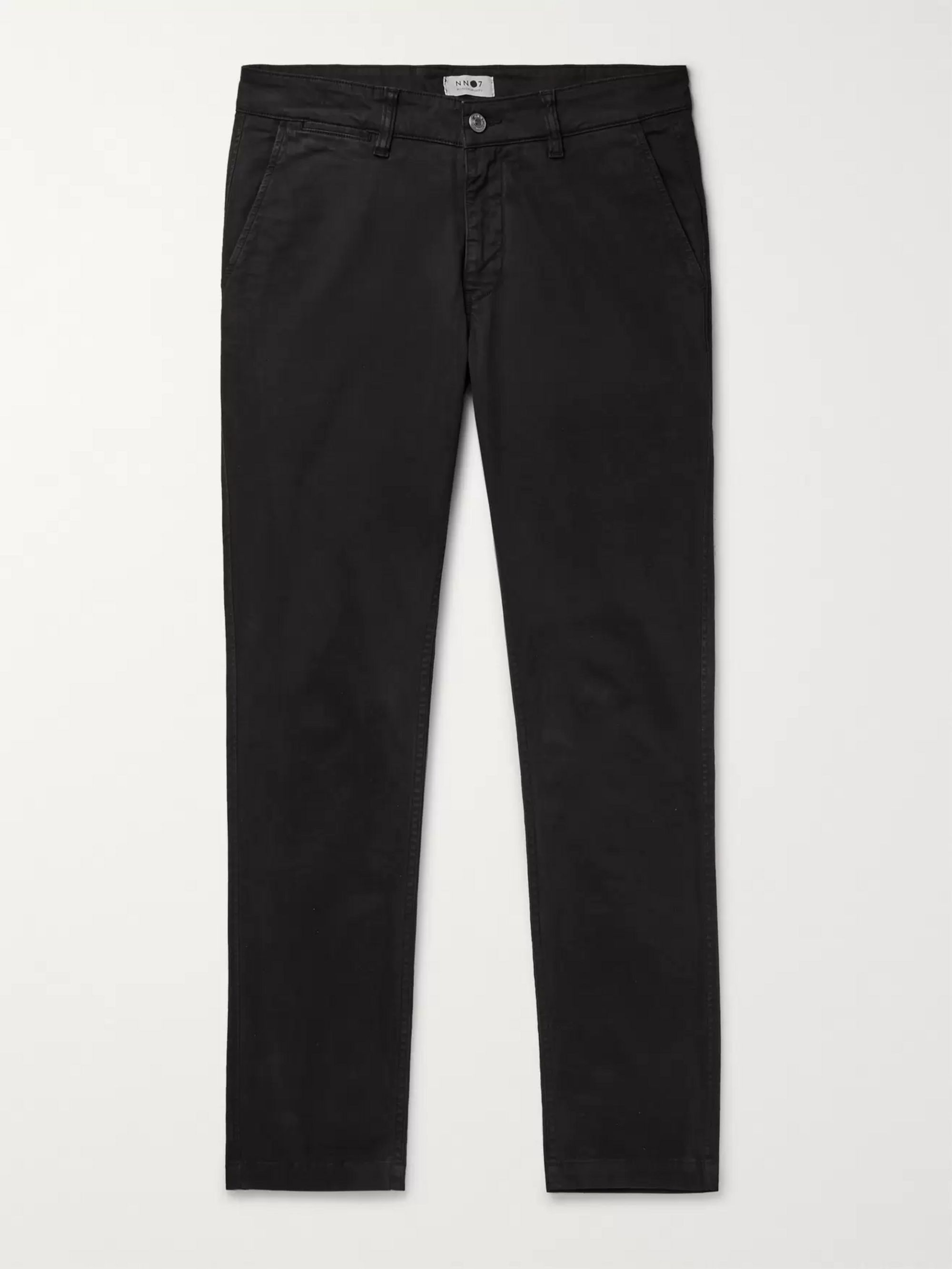 NN07 Black Marco Slim-Fit Cotton-Blend Twill Chinos