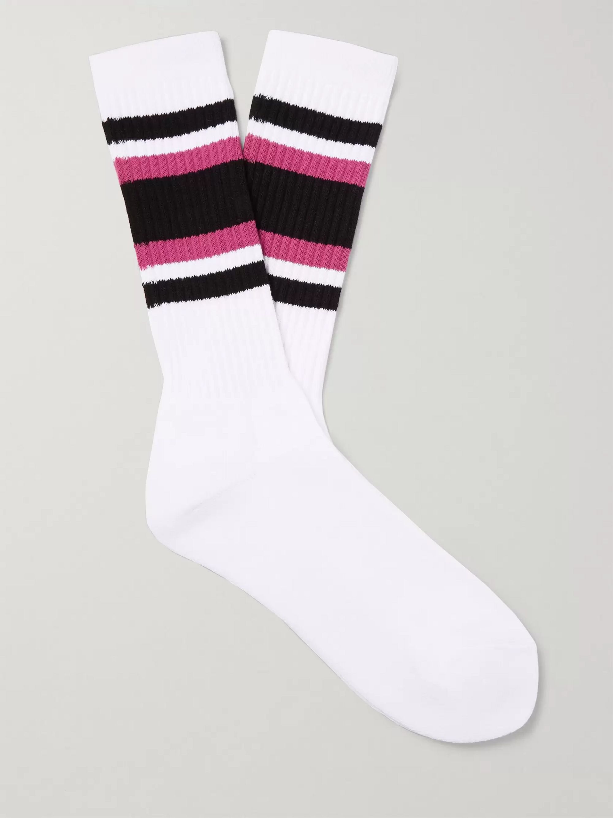 Wacko Maria Striped Cotton-Blend Socks