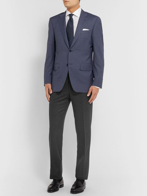 Canali Navy Slim-Fit Mélange Super 120s Brushed-Wool Trousers