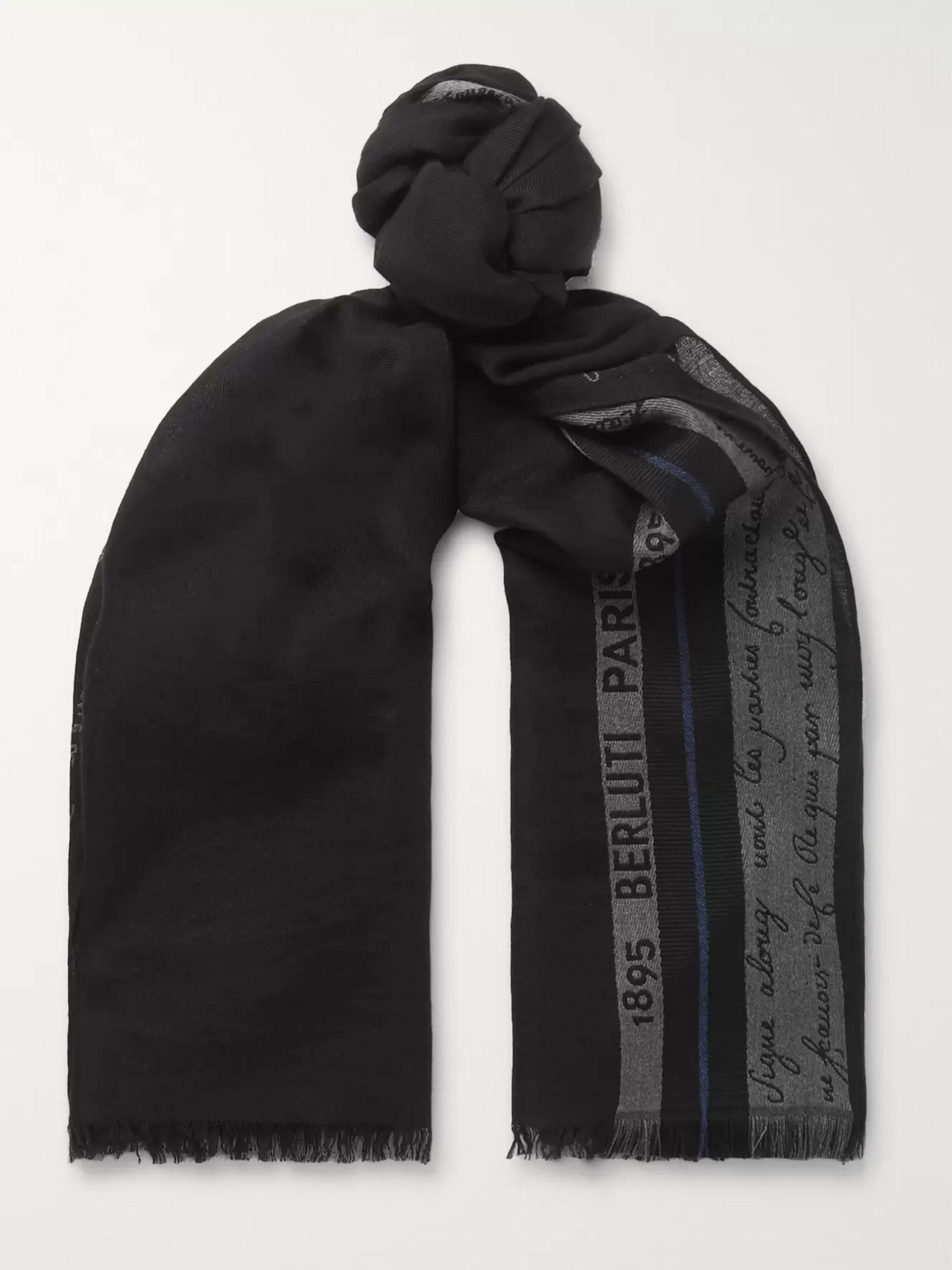 b062870d74 Silk, Wool and Cashmere-Blend Jacquard Scarf