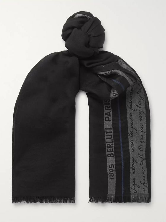 Berluti Silk, Wool and Cashmere-Blend Jacquard Scarf