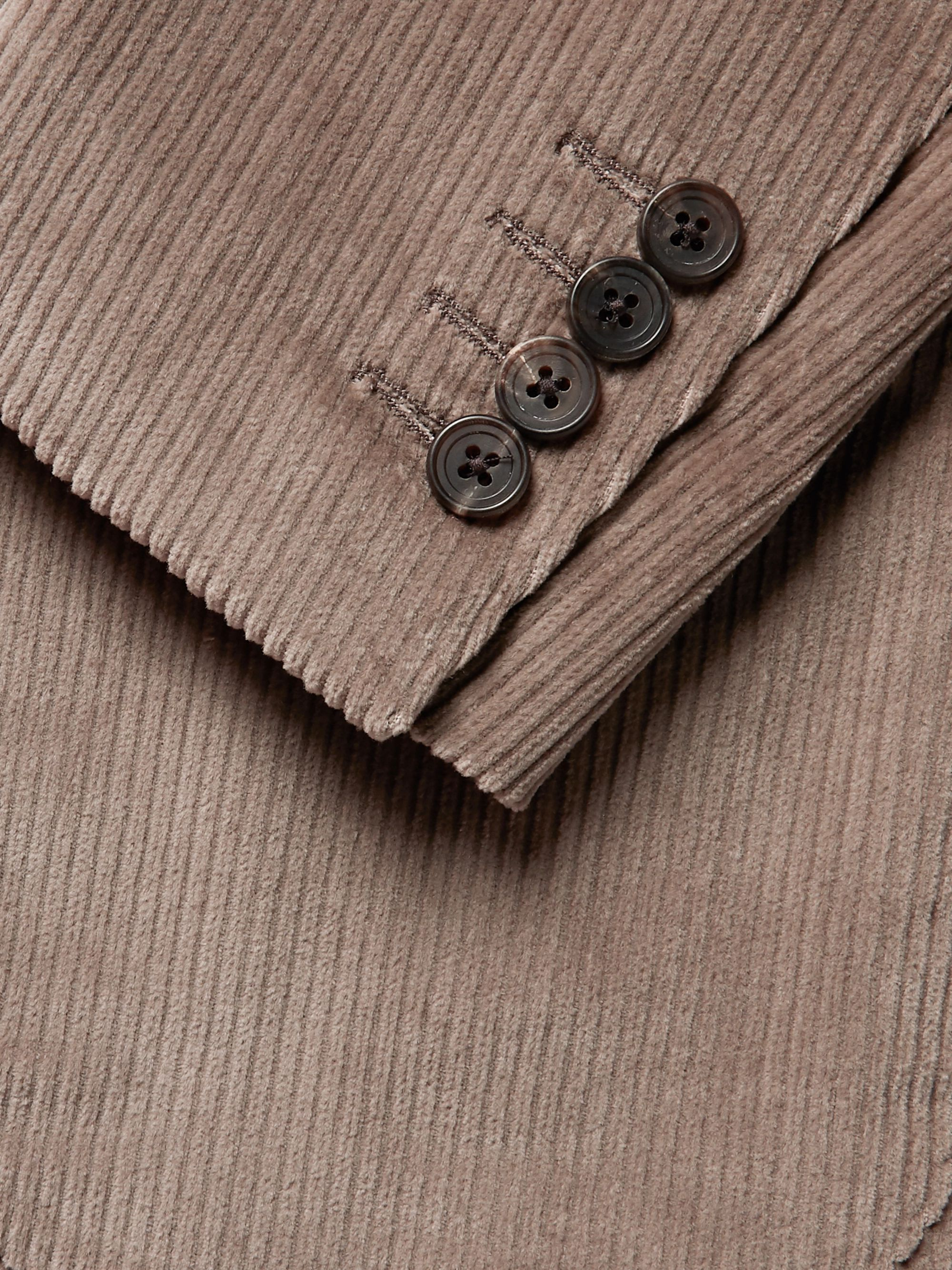 Thom Sweeney Taupe Slim-Fit Unstructured Cotton-Corduroy Suit Jacket