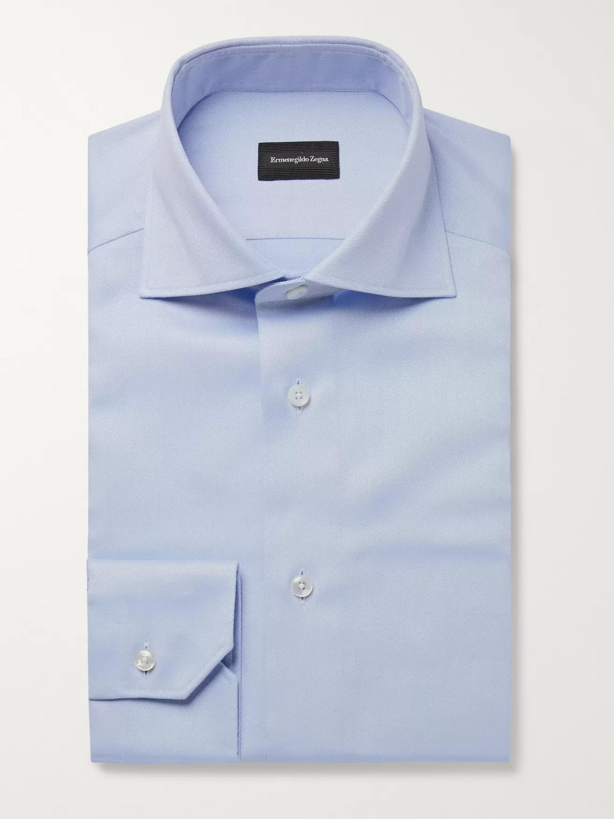 Ermenegildo Zegna Light-Blue Slim-Fit Cutaway-Collar Cotton Oxford Shirt