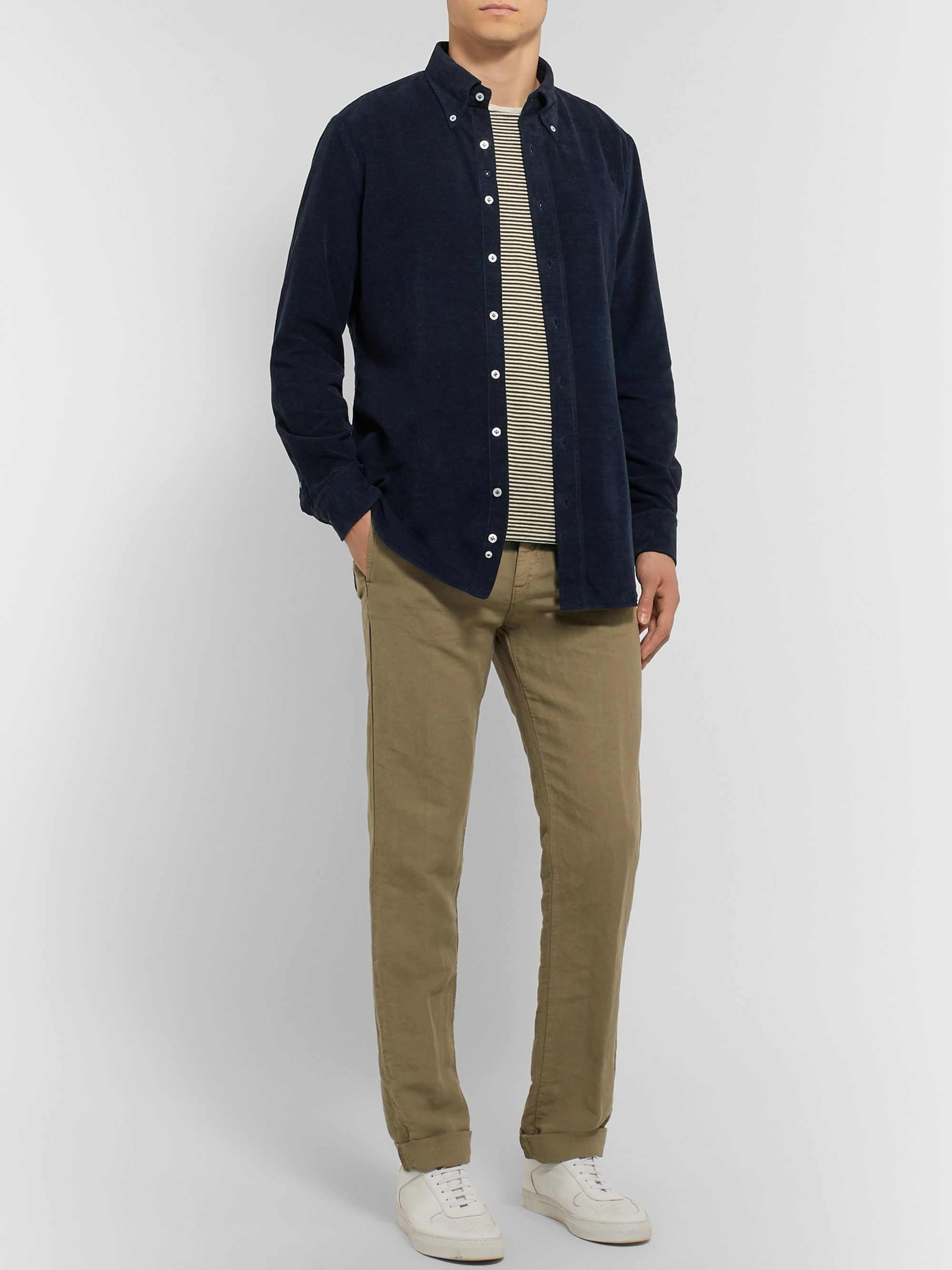 Lardini Slim-Fit Button-Down Collar Cotton-Corduroy Shirt