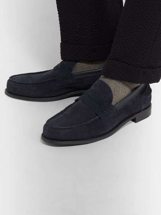 Cheaney Dover D Perforated Suede Penny Loafers