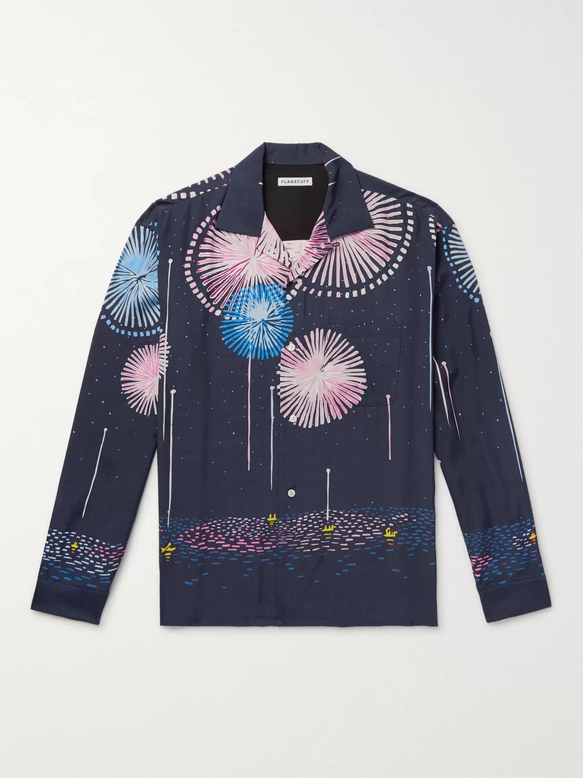 Camp Collar Printed Matte Satin Shirt by Flagstuff