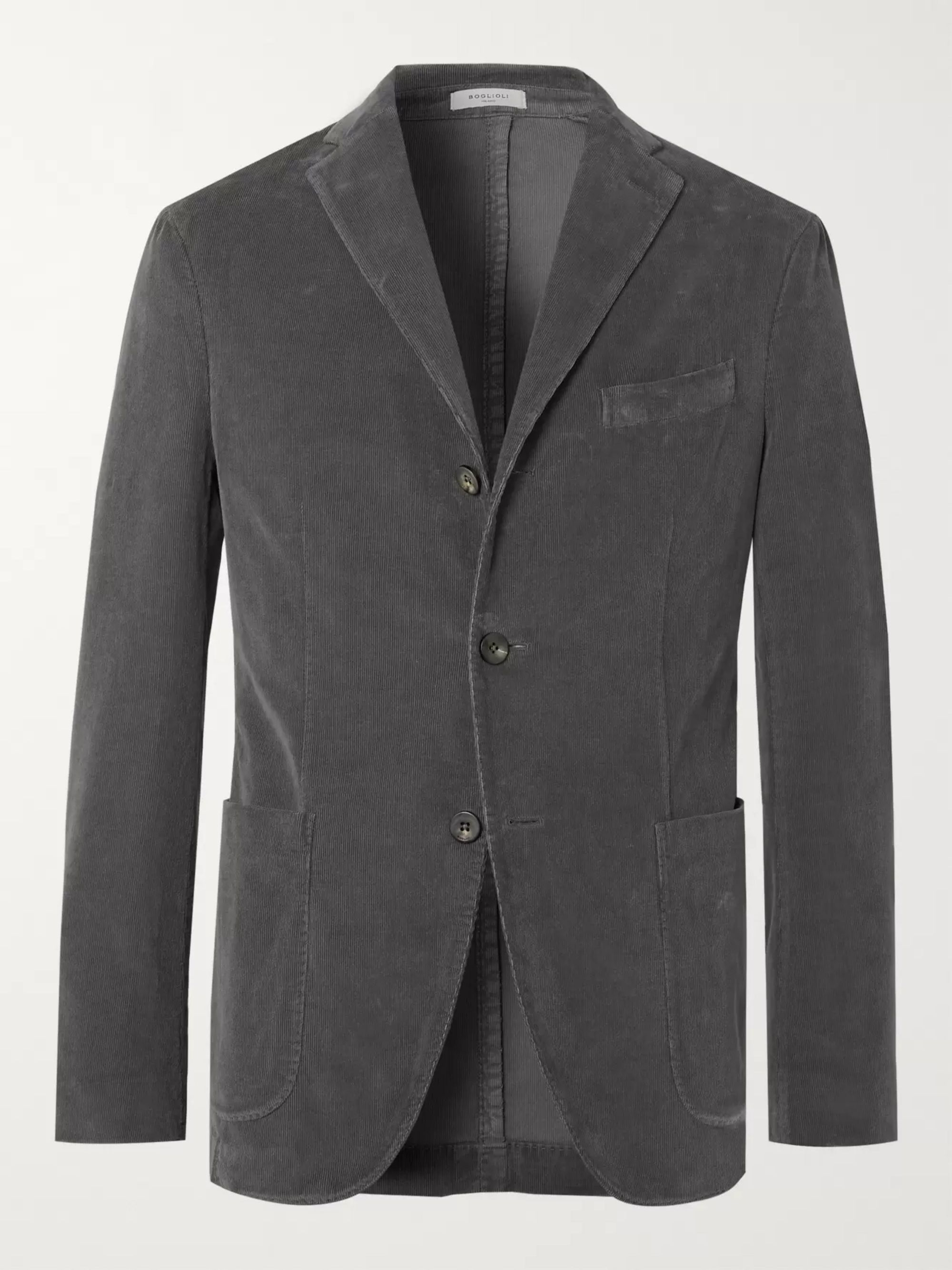 Boglioli Navy K-Jacket Slim-Fit Unstructured Stretch-Cotton Corduroy Suit Jacket