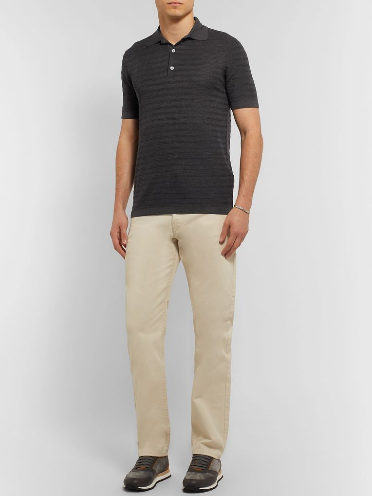 Dunhill Slim-Fit Striped Knitted Mulberry Silk Polo Shirt