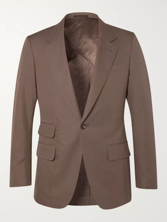Kingsman Brown Slim-Fit Unstructured Cotton-Twill Suit Jacket